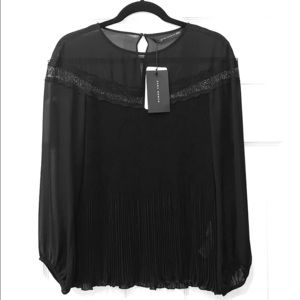 Zara pleated top with lace detail